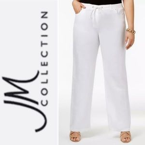 JM Collection Linen Drawstring Wide Leg Pants 18